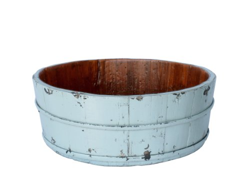 Antique Revival Wooden Round Basin Bucket, Aqua