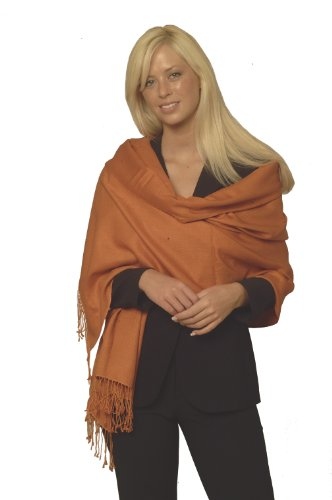 Pashmina Shawl (Large) In Burnt Orange Color From Cashmere Pashmina Group front-655506