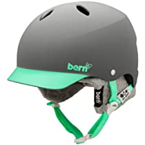 Bern Lenox EPS Matte Grey/Green Brim Helmet with Grey Knit (Medium/Large)