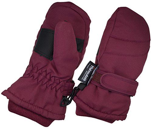 Children Toddlers and Baby Mittens Made With Thinsulate,and Fleece - Winter Waterproof Gloves By Zelda Matilda, Burgundy, 1 - 2 years