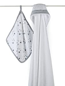 aden + anais Muslin Hooded Towel & Washcloth Set, Twinkle