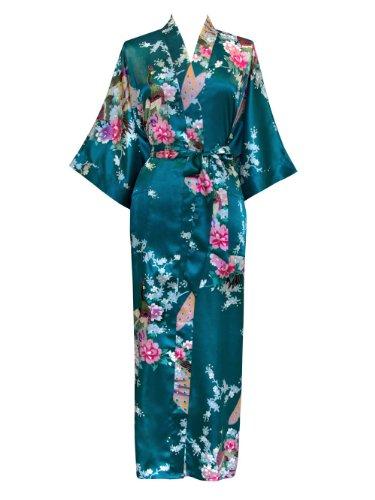 Old Shanghai Women's Kimono Robe - Peacock & Blossoms (Long) - Peacock
