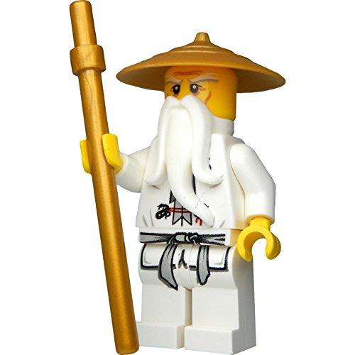 LEGO Ninjago: Minifigur Sensei Wu mit goldenem Hut und goldenem Stab
