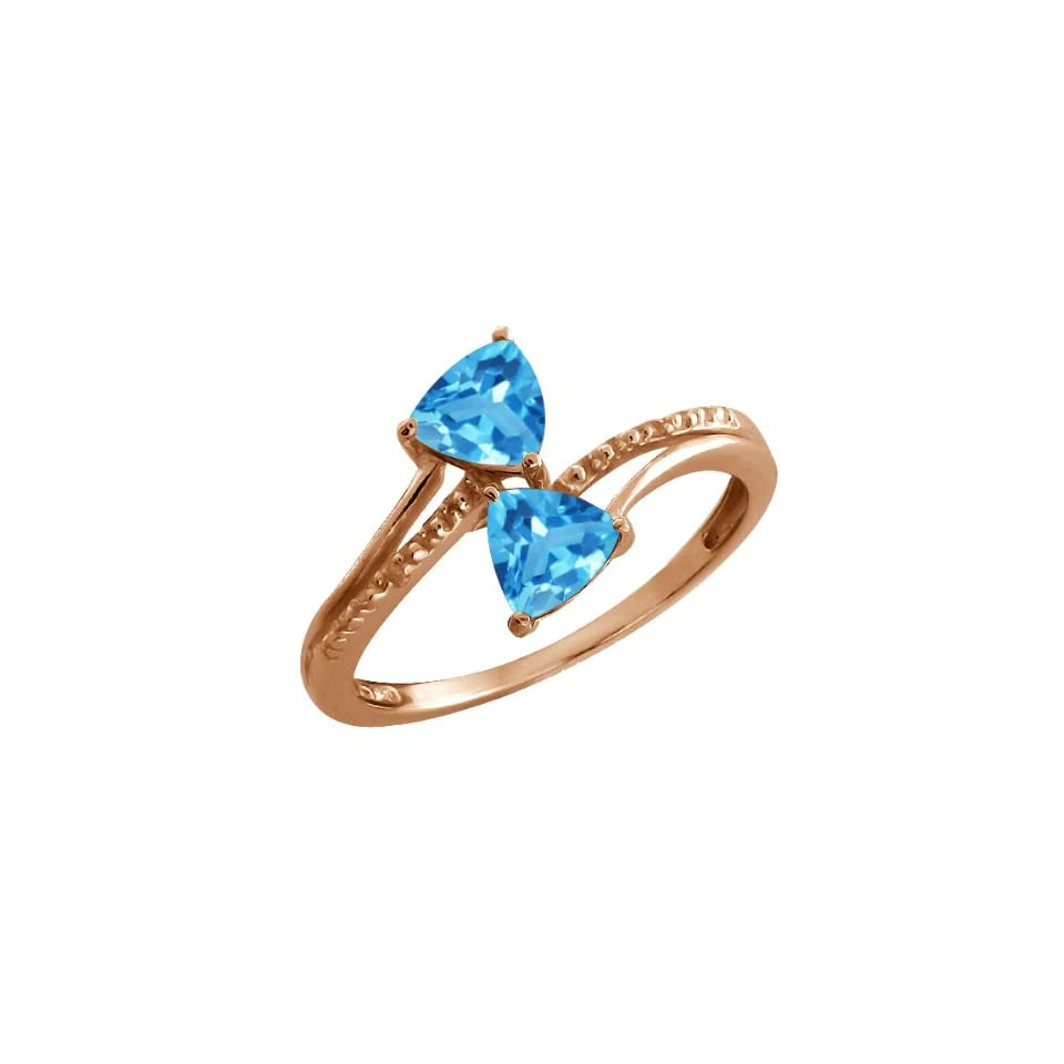 16 Ct Trillion Swiss Blue Topaz Rose Gold Plated Argentium Silver Ring