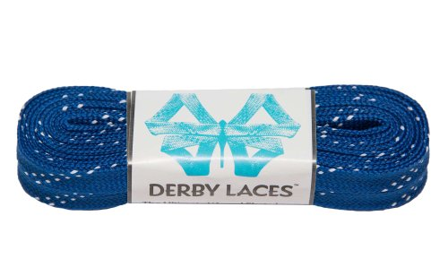 Blue 96 Inch Waxed Skate Lace - Derby Laces for Roller Derby, Hockey and Ice Skates, and Boots