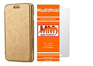 MuditMobi Leather Flip With Soft TPU TransParent Back Case Flip Cover With Screen Protector For- Samsung Galaxy A5 -Golden