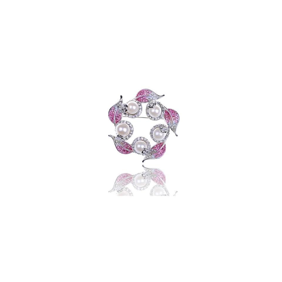 Rose Pink Faux Cream Pearl Leaf Wreath Swarovski Crystal Rhinestone Pin Brooch