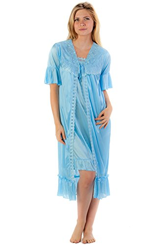 Casual Nights Women's Satin 2 Piece Robe and Nightgown Set