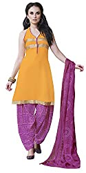 Ethnic For You Crepe Unstitched Salwar Suit Dress Materials(Light Orange)
