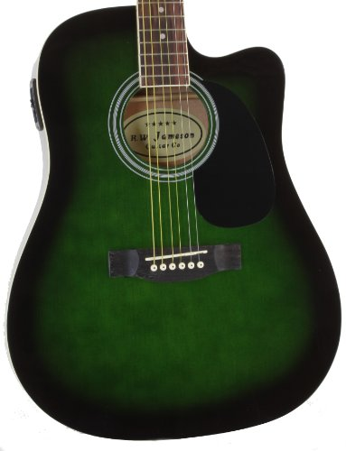 Full Size Thinline Green Acoustic Electric Guitar with Free Gig Bag Case & Picks (Full Size Thinline Acoustic compare prices)