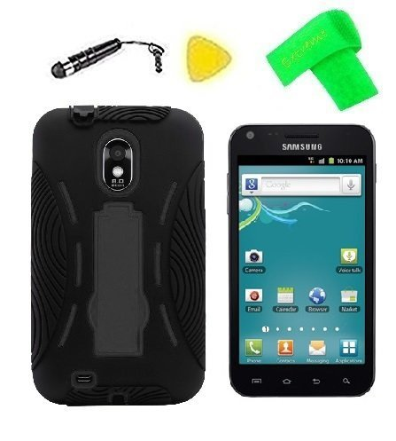 Phone Cover Case Cell Phone Accessory + Extreme Band + Stylus Pen + Lcd Screen Protector + Yellow Pry Tool For Samsung Galaxy S2 S Ii Sch-R760 R760 R760X / Sprint Samsung Epic Touch D710 Sph-D710 / Samsung Within (Black/Black)