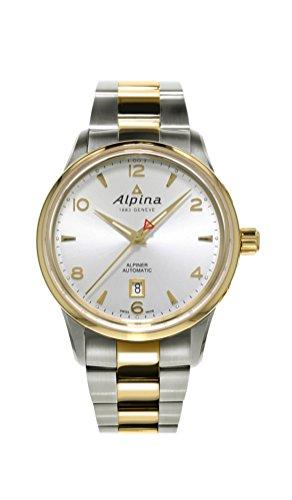 Alpina Alpiner Automatic Steel & Gold Tone Mens Watch Silver Dial Calendar AL-525S4E3B