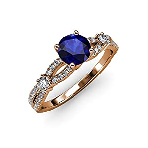 Blue Sapphire and Diamond Split Shank Engagement Ring 1.40 ct tw in 14K Rose Gold.size 8
