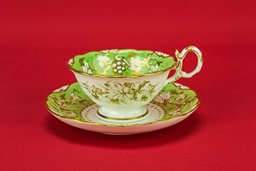 6 Persons Antique Spectacular Porcelain Grapes Serving Cup TEA SET Neo-classical Saucer Green Party 1830s English LS
