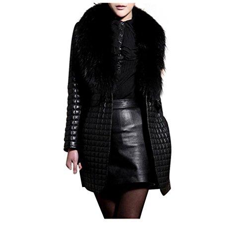 Koly _Le donne inverno della pelliccia del Faux Leather cappotto tuta sportiva lungo cappotto (S)