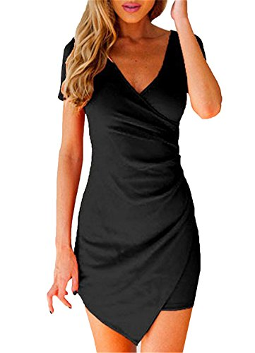 Women's V Neck Short Sleeve Asymmetrical Bodycon Dress (S, Black)