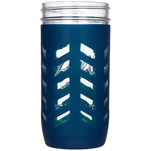 JarJackets Silicone Mason Jar Protector Sleeve - Fits Ball, Kerr 24oz (1.5 pint) Wide-Mouth Jars (Midnight) - Package of 3