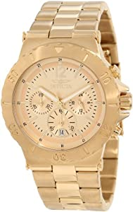Invicta Men's 1266 Specialty Chronograph Gold Tone Dial 18k Gold Ion-Plated W...