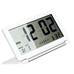 soled Multifunction Silent LCD Digital Large Screen Travel Desk Electronic Alarm Clock, Date/Time/Calendar/Temperature Display, Snooze, Folding (White+Silver) ...