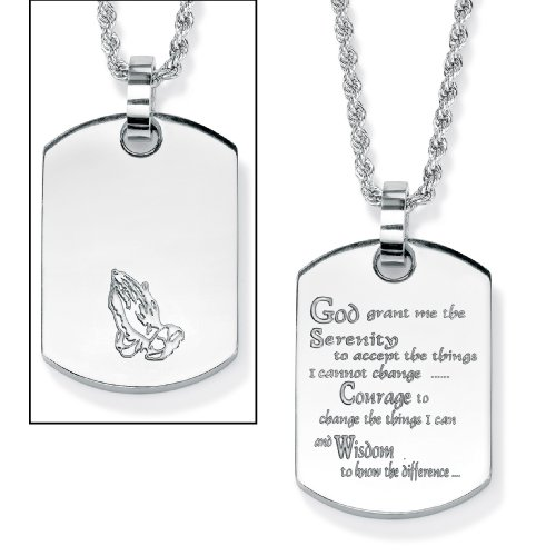"""898d5ad8c0862 ... PalmBeach Jewelry Stainless Steel Enamel-Finish """"Serenity Prayer""""  Dog-Tag Pendant and Chain 18″"""