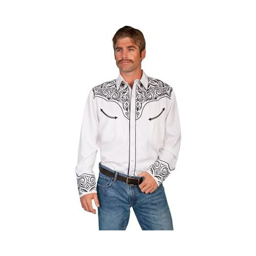 Scully Men's Fancy Full Stitched Retro Western Shirt Big And Tall - P-815X White