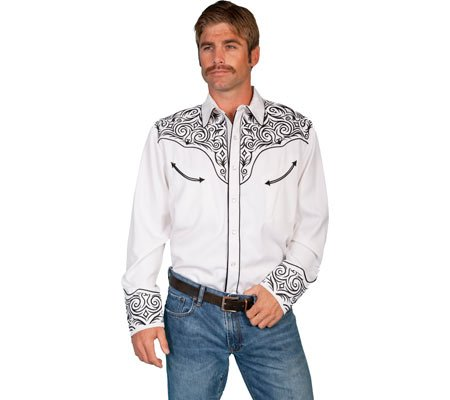 Scully Men's Fancy Full Stitched Retro Western Shirt Big And Tall - P-815X White 0