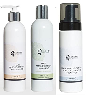 Genome Natural Hair Growth and Amplification System - Nourishing Shampoo, Amplifying Conditioner, and Scalp Treatment - Supports Healthy Hair Growth, Fights Hair Loss, and Volumizes Existing Hair!