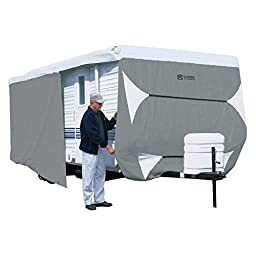Classic Accessories OverDrive PolyPRO 3 Deluxe Travel Trailer Cover or Toy Hauler Cover, Fits 33\' - 35\' RVs - Max Weather Protection with 3-Ply Poly Fabric Roof Travel Trailer Cover (70763)