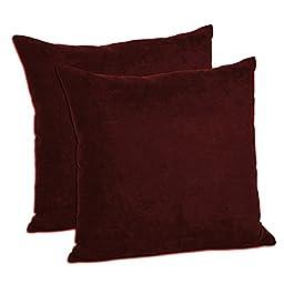 MoonRest - Faux Suede Decorative Pillow Shams Solid Colors (Set of 2) (18\