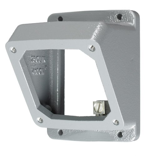 "Hubbell Wiring Systems AB203055 Twist-Lock Safety-Shroud Metallic 55 Degree Angle Adapter and Back Box, 1"" NPT Hub"