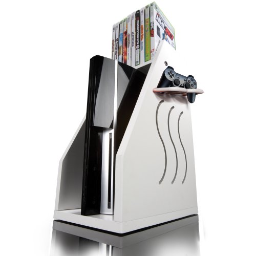 Gameon Video Gaming Console Storage White Reviews Multimedia Storage Tower
