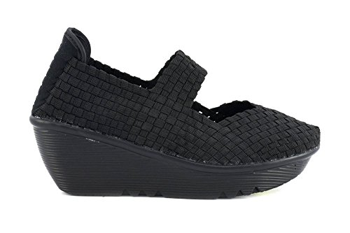 CAFè NOIR DH923 nero scarpe sandali donna elastico zeppa light 38
