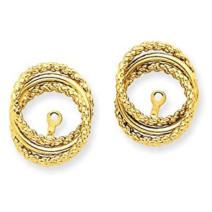 14k Yellow Gold Polished & Twisted Fancy Earring Jackets. Gold Wt- 1.64g.