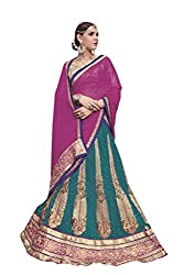 Ishin Net Chiffon Party Wear Embellished Blue & Pink Lehenga