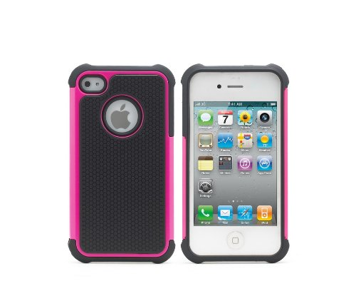 ihomegadget Shock Proof 3 in 1CASE COVER FITS APPLE IPHONE 5 + SCREEN PROTECTOR  &  STYLUS HotPink
