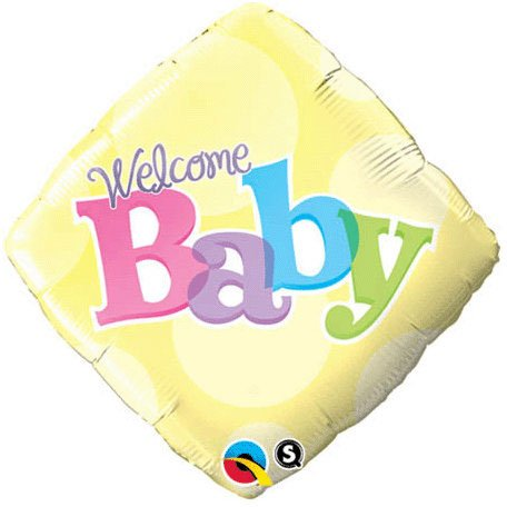 """Welcome Baby With Yellow Dots 18"""" Foil Balloon Party Supplies (Yellow)"""