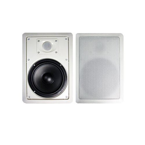Acoustic Audio Mt8 8-Inch Rectangle 2 Way Speaker With Crossover (White)