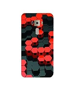GripIt 3D Red & Black Hexagons Printed Case for Asus Zenfone 3 Laser