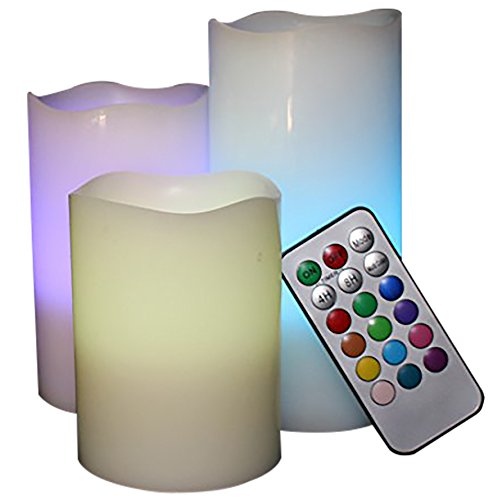 LED Lytes Flameless Candles, Multi Color Option Battery Operated Set of 3 Ivory Wax and Remote