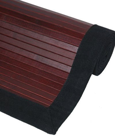 Great Deal Good Price - Mahogany Color Bamboo Rug w/ Black Cotton Hem & No Slip Backing - 4ft. x 6ft.
