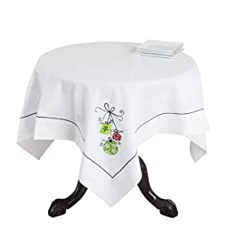 SARO LIFESTYLE 8263 French Christmas Square Table Topper, 40-Inch, White