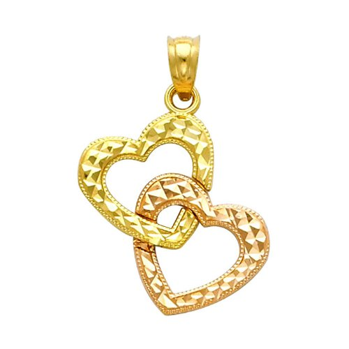 14K Yellow and Rose 2 Two Tone Gold Double Heart Charm Pendant