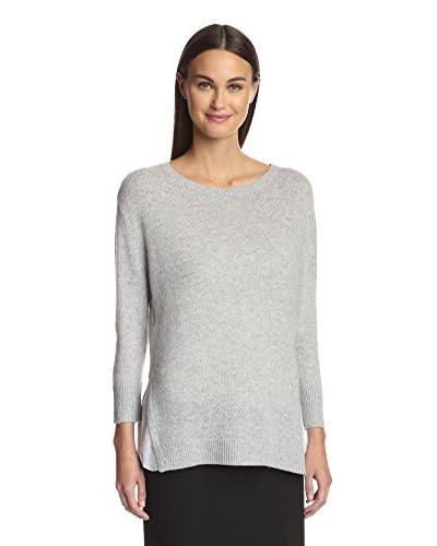 Magaschoni Women's Split Hem Cashmere Sweater  [Stone]
