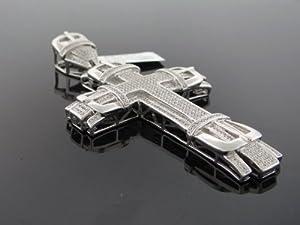 Designer Hip Hop Men's Cross Charm Pendant 10k White Gold 2.25ct Diamond SDP-1485W