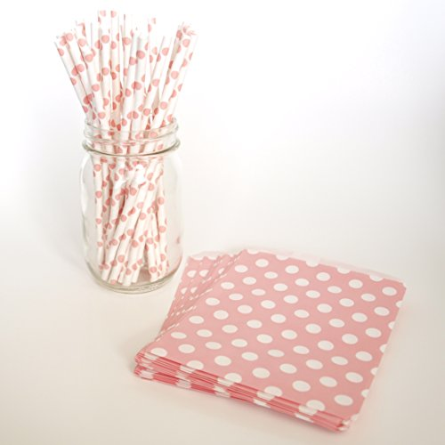 Baby Shower Gift Bags, Retro Drinking Straws, Pink Party Bags, Sipping Straws, 2 Combo Party Supply Kit - Pink Polka Dot front-727812