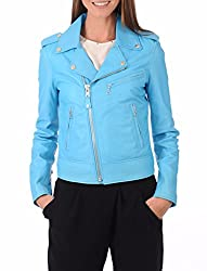 Syedna Blue Leather Women Biker Jacket
