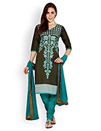 EQ Green Colour Super Fine Cotton Cambric Salwar Suit Duppatta Material.
