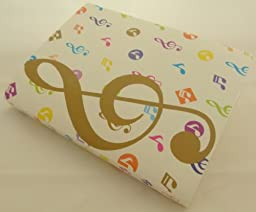 Music Themed 20 Pockets Plastic Folder Display Book Soft Cover - White Cover Colourful Gold Treble Clef Design