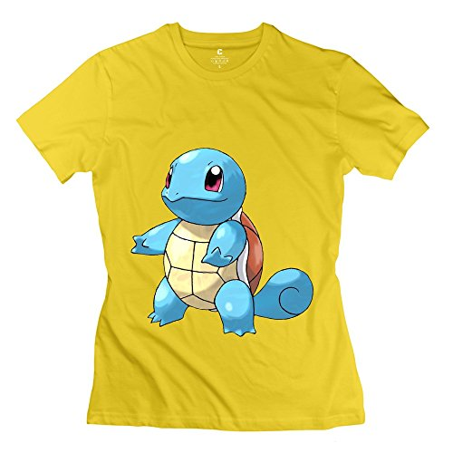Lule'X Pokemon Squirtle Women'S Tee Shirts,Yellow O-Neck T-Shirts Small