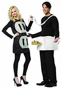 Rasta Imposta Lightweight Plug and Socket Couples Costume, Black/White, One Size